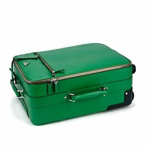 Prada Saffiano Rolling Luggage Bag Kelly Green